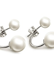 cheap -Women's Pearl Stud Earrings Magic Back Earring Ladies Pearl Sterling Silver Imitation Pearl Earrings Jewelry White For Wedding Party Daily Casual Sports Masquerade