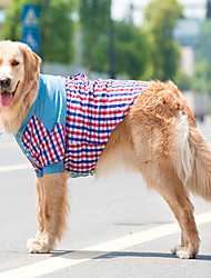 cheap -Dog Shirt / T-Shirt Plaid / Check Fashion Dog Clothes Costume Terylene Cotton XXXL XXXXL XXXXXL XXXXXXL 7XL