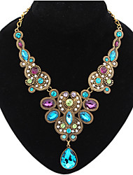 cheap -Women's Multicolor Gemstone Statement Necklace Pear Cut Drop Ladies Luxury Vintage European Synthetic Gemstones Resin Plastic Blue Necklace Jewelry For Party Special Occasion Congratulations Prom