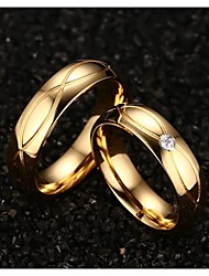 cheap -Women's Statement Ring Synthetic Diamond Golden Titanium Steel Gold Plated Yellow Gold Ladies Fashion Wedding Party Jewelry
