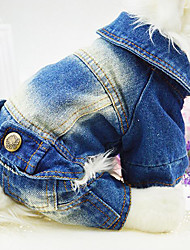 cheap -Dog Jumpsuit Denim Jacket / Jeans Jacket Puppy Clothes Jeans Cowboy Fashion Winter Dog Clothes Puppy Clothes Dog Outfits White Blue Costume for Girl and Boy Dog Denim XS S M L XL XXL