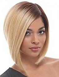 Недорогие -Человеческие волосы без парики Прямой Прямой силуэт Парик Блондинка Искусственные волосы