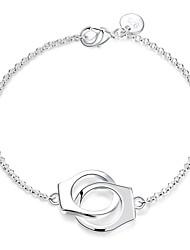 cheap -Women's Chain Bracelet Charm Bracelet Love knot Double Handcuff Locket Ladies Fashion Sterling Silver Bracelet Jewelry Silver For Wedding Party