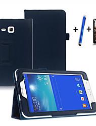 Недорогие -Кейс для Назначение SSamsung Galaxy Tab 3 Lite со стендом / С функцией автовывода из режима сна / Флип Чехол Однотонный Твердый Кожа PU