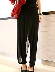 cheap -Women's Street chic Plus Size Daily Loose Harem / Loose Pants - Solid Colored Black XXXXL XXXXXL XXXXXXL
