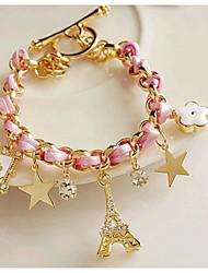 cheap -Chain Bracelet Star Eiffel Tower Unique Design Work Casual European Fashion Rhinestone Bracelet Jewelry Pink For Party Gift Valentine