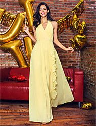 cheap -Sheath / Column Elegant Minimalist Prom Formal Evening Dress V Neck Sleeveless Ankle Length Georgette with Draping 2020