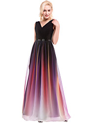 cheap -A-Line V Neck Floor Length Chiffon Prom / Formal Evening Dress with Sash / Ribbon / Ruched 2020 / Color Gradient
