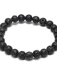 abordables -Bracelet à Perles Bracelet de bonne chance Perles Lave noire Bracelet Bijoux Blanc Mat pour Regalos de Navidad Mariage Soirée Quotidien Décontracté Sports