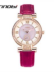 cheap -SINOBI Women's Wrist Watch Diamond Watch Quartz Leather Purple 30 m Water Resistant / Waterproof Analog Ladies Charm Fashion - Purple Green Two Years Battery Life / Sony-SR626SW