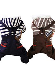 cheap -Dog Hoodie Jumpsuit Dog Clothes Stripes Jeans Gray Coffee Cotton Costume For Winter Men's Women's Fashion