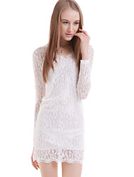 cheap -Women's Daily Chic & Modern Bodycon Dress - Patchwork Lace V Neck White