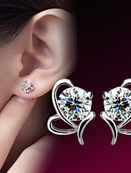 cheap -Women's Diamond Cubic Zirconia Stud Earrings Heart Ladies Birthstones Sterling Silver Zircon Silver Earrings Jewelry For Wedding Party Daily Casual Sports