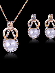 cheap -Pearl Jewelry Set Pendant Necklace Ladies Party Fashion Rose Gold Pearl Rhinestone Earrings Jewelry White For Party Special Occasion Anniversary Birthday Gift / Imitation Diamond / Rose Gold Plated
