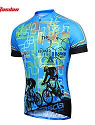 abordables -TASDAN Homme Manches Courtes Maillot Velo Cyclisme Grandes Tailles Cyclisme Maillot Hauts / Top Ensembles de Sport VTT Vélo tout terrain Vélo Route Respirable Séchage rapide Anti-transpiration Des