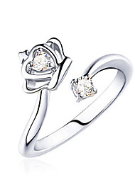 cheap -Women's Statement Ring wrap ring thumb ring Crystal Silver Sterling Silver Crystal Ladies Fashion Party Daily Jewelry Round Cut Two Stone