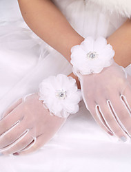 cheap -Elastic Satin / Polyester / Tulle Wrist Length Glove Classical / Bridal Gloves With Solid