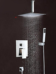 cheap -Shower Set Set - Rainfall Contemporary Chrome Wall Mounted Brass Valve Bath Shower Mixer Taps