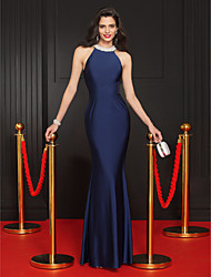 cheap -Mermaid / Trumpet Halter Neck Floor Length Jersey Minimalist / Blue Formal Evening / Party Wear Dress with Crystals 2020