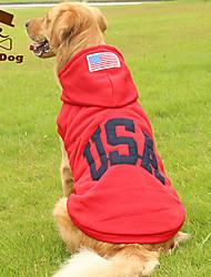 cheap -Dog Hoodie American / USA National Flag Keep Warm Fashion Winter Dog Clothes Red Dark Blue Costume Cotton L XL XXL XXXL