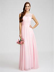 cheap -Sheath / Column Bateau Neck Floor Length Chiffon Bridesmaid Dress with Draping / Sash / Ribbon / Ruched