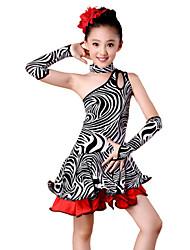 cheap -Latin Dance Outfits Performance Spandex Milk Fiber Ruffles Dress Sleeves Neckwear