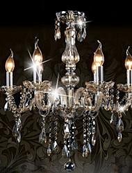 cheap -Ecolight™ 6-Light 58cm(23 inch) Crystal Chandelier Glass Chrome Traditional / Classic 110-120V / 220-240V
