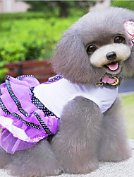 cheap -Dog Dress Dog Clothes Polka Dot Bowknot Purple Red Cotton Costume For Spring &  Fall Women's Fashion