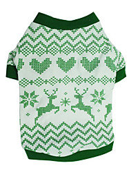 cheap -Dog Shirt / T-Shirt Fashion Christmas Dog Clothes Puppy Clothes Dog Outfits Green Costume for Girl and Boy Dog Cotton XS S M L