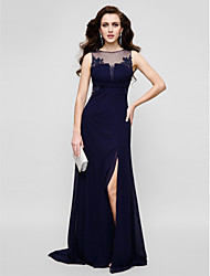 cheap -Sheath / Column Beautiful Back Keyhole Prom Formal Evening Dress Illusion Neck Sleeveless Floor Length Chiffon Tulle with Beading Appliques 2020
