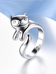 cheap -Women's Statement Ring thumb ring Pussy Rings Crystal Silver Sterling Silver Crystal Ladies Unusual Unique Design Party Daily Jewelry Panda Animal Adjustable