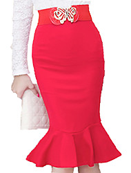 cheap -Women's Work Plus Size Bodycon Skirts - Solid Colored Ruffle Ruffle Black Red XXL XXXL XXXXL / Sexy / Slim