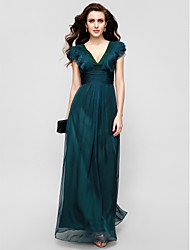 cheap -A-Line V Neck Floor Length Chiffon Elegant Formal Evening / Military Ball Dress with Draping / Ruffles / Ruched 2020