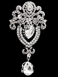 cheap -Women's Brooches Pear Cut Solitaire Flower Ladies Fashion Imitation Diamond Brooch Jewelry White For Wedding Party Special Occasion Anniversary Birthday Masquerade Size 5.1*9.5cm