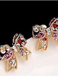 cheap -Women's Cubic Zirconia Stud Earrings Cross Bowknot Ladies Luxury Gemstone Cubic Zirconia Imitation Diamond Earrings Jewelry Rainbow / Gold For