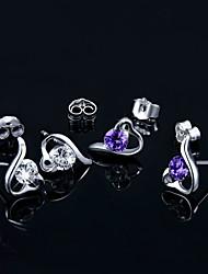 cheap -Women's Cubic Zirconia Stud Earrings Heart Ladies Birthstones Sterling Silver Zircon Silver Earrings Jewelry Silver / Purple For Wedding Party Daily Casual Sports