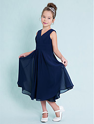 cheap -A-Line V Neck Tea Length Chiffon Junior Bridesmaid Dress with Criss Cross / Ruched / Natural