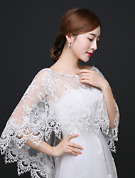 cheap -Sleeveless Lace Wedding / Party Evening Wedding  Wraps With Rhinestone / Appliques / Lace Shawls