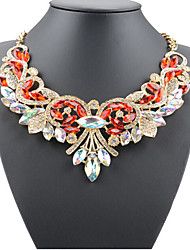 cheap -Women's Statement Necklace Statement Luxury European Fashion Imitation Diamond Alloy White Gold Red Light Blue Necklace Jewelry For