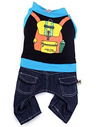 cheap -Dog Jumpsuit Denim Jacket / Jeans Jacket Puppy Clothes Jeans Cowboy Keep Warm Fashion Winter Dog Clothes Puppy Clothes Dog Outfits Black Yellow Costume for Girl and Boy Dog Cotton M