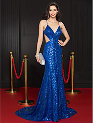cheap -Mermaid / Trumpet Plunging Neck Court Train Sequined Celebrity Style / Beaded & Sequin Formal Evening Dress with Sequin 2020