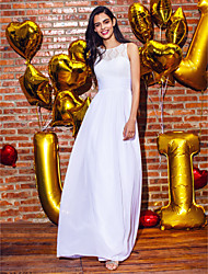 cheap -Sheath / Column Illusion Neck Ankle Length Chiffon / Lace Elegant Prom / Formal Evening Dress with Lace 2020