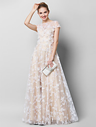 cheap -Sheath / Column Homecoming Prom Formal Evening Dress Illusion Neck Short Sleeve Floor Length Sheer Lace with Lace 2020