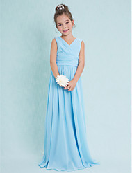 cheap -Sheath / Column V Neck Floor Length Chiffon Junior Bridesmaid Dress with Criss Cross / Ruched / Natural