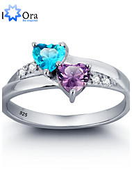 cheap -Women's Band Ring Cubic Zirconia Sterling Silver Zircon Silver Wedding Party Jewelry Heart Love Aquarius