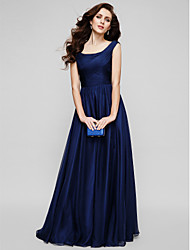 cheap -A-Line Scoop Neck Floor Length Chiffon Elegant / Minimalist Formal Evening / Holiday Dress with Ruched 2020