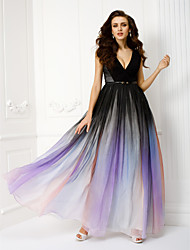 cheap -A-Line V Neck Floor Length Chiffon Formal Evening Dress with Sash / Ribbon 2020 / Color Gradient