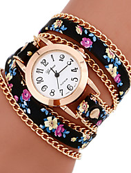 cheap -Women's Bracelet Watch Wrap Bracelet Watch Quilted PU Leather Casual Watch Analog Ladies Flower Bohemian Fashion - 7# 8# 9# One Year Battery Life