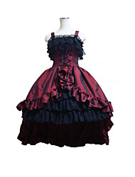 cheap -Gothic Lolita Dress Women's Girls' Satin Japanese Cosplay Costumes Plus Size Customized Black Ball Gown Patchwork Sleeveless Medium Length