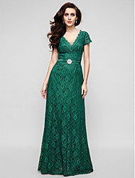 cheap -A-Line V Neck Floor Length All Over Lace Elegant Cocktail Party / Formal Evening / Military Ball Dress with Crystal Brooch 2020